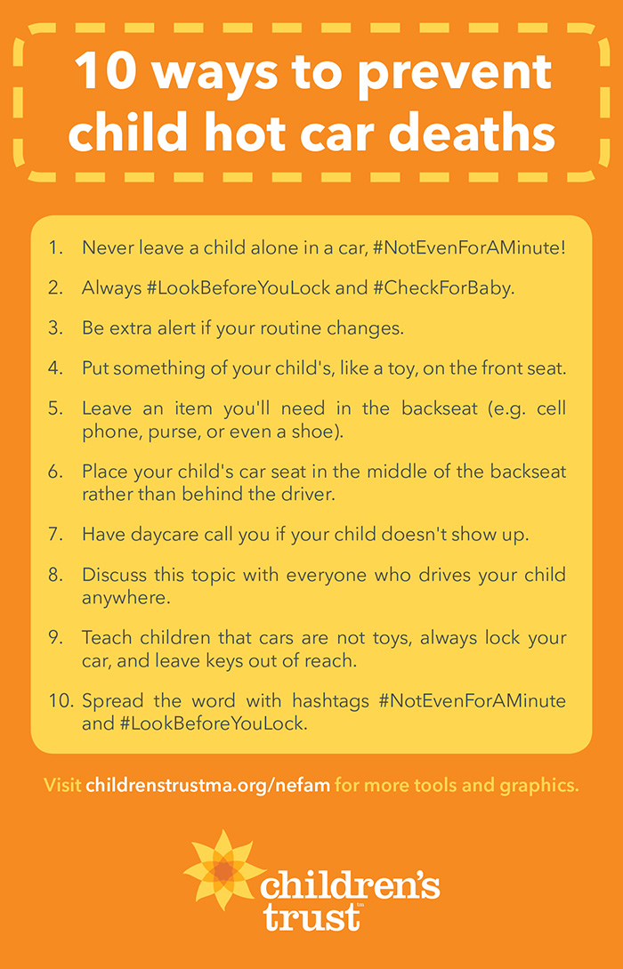 10 ways to prevent child hot car deaths