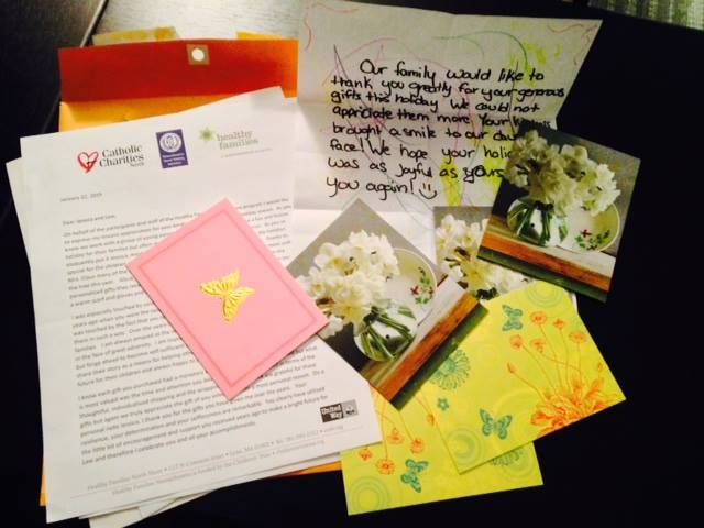 Thank you notes from moms receiving Mrs. Claus project gifts