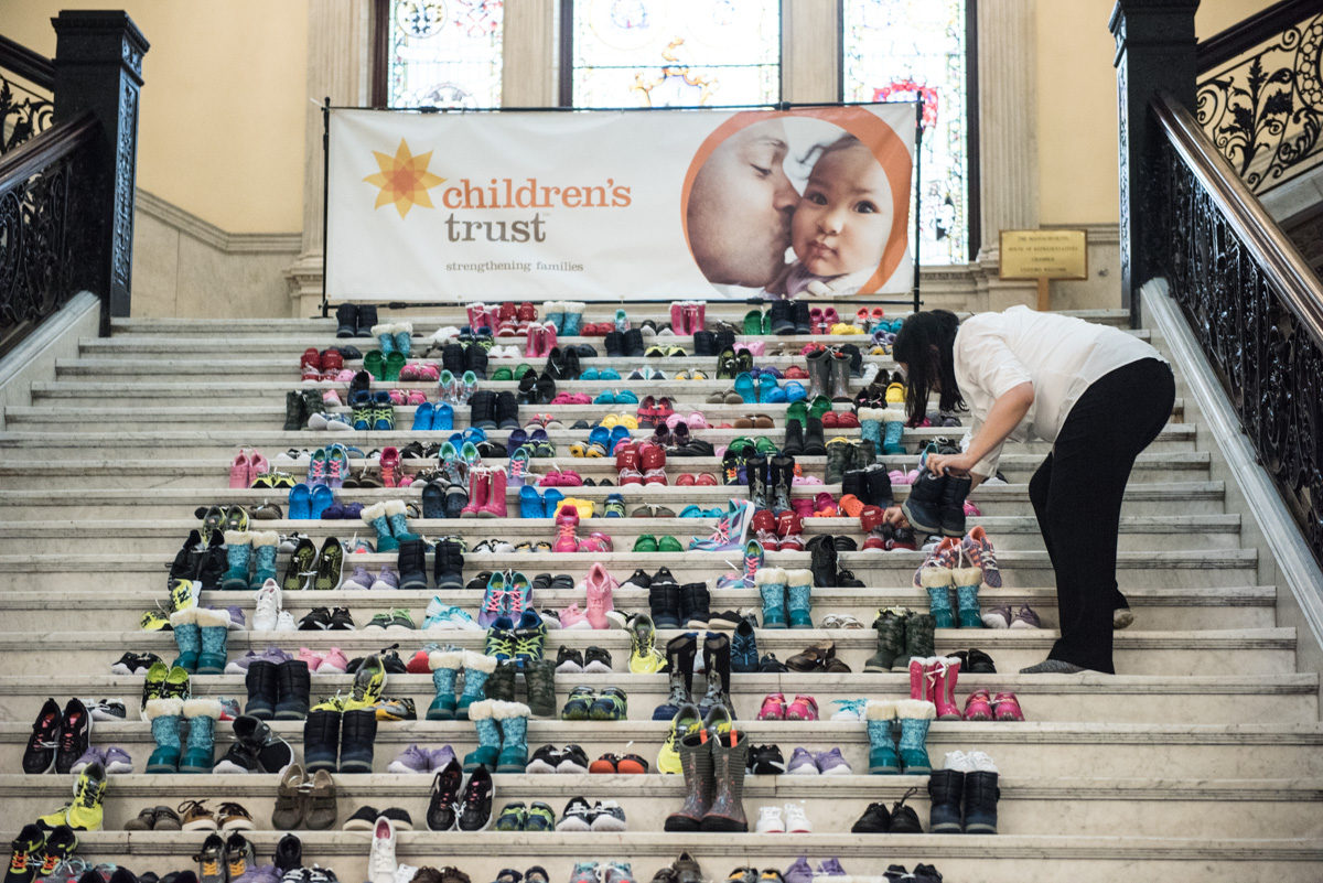 709 pairs of children's shoes lined the Grand Staircase