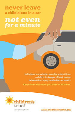 never leave a child alone in a car - poster