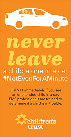 dial 911 immediately if you see an unattended child in a car